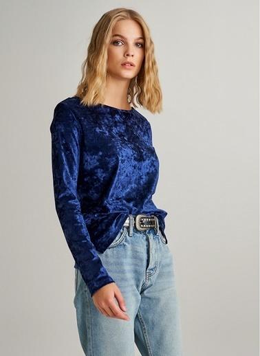 Monamoda Kadife Bluz Lacivert